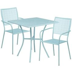 Flash Furniture Square Indoor-Outdoor Steel Patio Table Set with 2 Square Back Chairs, Multiple Colors, Gray Patio Bar Set, Patio Table, Patio Chairs, Patio Dining, Outdoor Dining, Arm Chairs, Outdoor Decor, 3 Piece Bistro Set, 7 Piece Dining Set