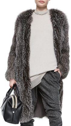 f*ck yeah fur - Brunello Cucinelli Fox Fur Cashmere-Knit Long Coat...