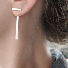 d042b33a8 Fashion Punk Gold Silver Metal Letter T Shape Stud Earrings Women Jewelry