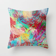 REEF STORM - Fun Bright BOLD Playful Rainbow Colors Underwater Ocean Reef Theme Coral Aquatic Life Throw Pillow by EbiEmporium - $20.00
