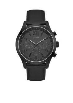 Guess Men's Black Chronograph Sport Watch - Black - One Size