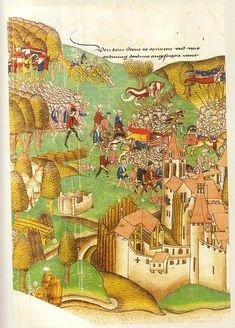 The Murten battle. 1476, Diebold Schilling: Große Burgunderchronik dated 1480/84. Zentralbibliothek Zürich, Ms. A 5, Fol. 654