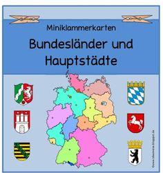 """Sachunterricht in der Grundschule: Miniklammerkarten """"Bundesländer/Hauptstädte"""""""