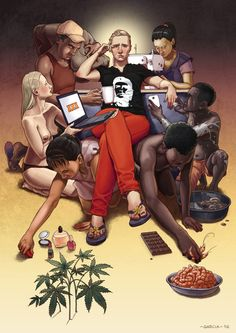 Art by Daniel Garcia - Your Own Personal Slaves (illustration, personal, slave, capitalism, consumer, product, woman, child, man, fashion, food, sex)