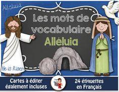 FREEBIE-24 mots-étiquettes sur le thème #Alleluia #freebie #FSL #frenchteacher #Jésus