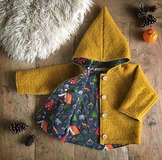 Wool Spring/Autumn Coat Ochre Yellow Forest Blue