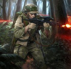 Rebel Scout trooper fighting in the battle of Endor. Star Wars