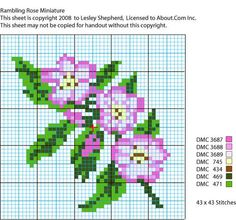 This chart is for a miniature rambling rose design worked in needlepoint (petitpoint) or cross stitch. The finished needlework is suitable for a dolls house pillow in 1:12 scale.
