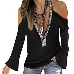 Reaso/_Femme Blouse Sweatshirt Manches Longues Tops Col en V Chic Tunique /Él/égant Tunika L/âche Vintage Chemises Tuniques Couleur Unie Plaine D/écontract/é Tunique