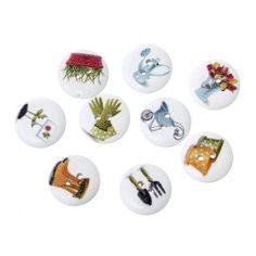 Gardening themed buttons.