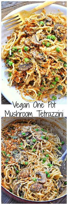 Vegan One Pot Mushroom Tetrazzini – Rabbit and Wolves Super creamy, rich and delicious. This vegan mushroom tetrazzini is a one pot wonder! The ultimate in comfort food, that just so happens to be vegan! Vegan Foods, Vegan Dishes, Vegan Vegetarian, Vegetarian Recipes, Healthy Recipes, Vegan Meals, Vegan Raw, Delicious Recipes, Veggie Recipes