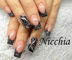 silver black glitter french festive nails