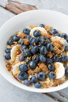 Chia Oatmeal Pudding with Blueberries, Mulberries & Maple Syrup