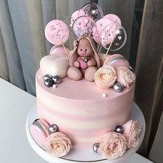 Especially beautiful cream cake, so beautiful! Especially beautiful cream cake, so beautiful! Especially beautiful cream cake, so beautiful! Fondant Baby, Fondant Cupcakes, Fun Cupcakes, Cupcake Cakes, Wedding Cupcakes, Baby Girl Cakes, Baby Birthday Cakes, Birthday Kids, Bolo Cake