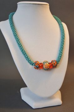 Turquoise Necklace Orange Necklace Sterling by JasmineTeaDesigns