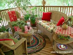 Wanna meet me on the back porch? Yes, I have the covered porch all pimped out for the summer! My trash to treasure wicker furniture is r. Indoor Outdoor Rugs, Outdoor Rooms, Outdoor Living, Outdoor Decor, Wicker Furniture, Outdoor Furniture Sets, Wicker Couch, Wicker Mirror, Wicker Shelf