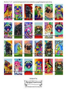 FUNKY DOGS Digital Collage Sheet 1x2 inch by KergieCreations