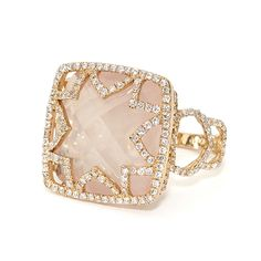 18kt rose gold Bella ring with rose quartz and 1.5 cts diamonds. Available in white, yellow, or rose gold, katiedecker.com