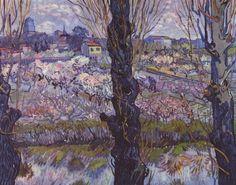 Vincent Willem van Gogh.  Blick auf Arles. 1889, Holz, 72 × 92 cm. München, Neue Pinakothek. Landschaftsmalerei. Niederlande und Frankreich. Neo-Impressionismus.  KO 01497