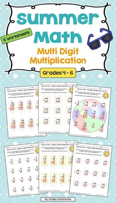 Skip the Summer Slide this year with this Summer Math Multi Digit Multiplication Packet.  There are 6 different summer themed worksheets in this packet.  Topics include: 2 digit by 1 digit multiplication, 2 digit by 2 digit multiplication, 3 digit by 1 digit multiplication, 3 digit by 2 digit multiplication, 4 digit by 1 digit multiplication.  Answer keys are provided for easy grading.