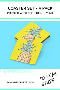 pineapple coaster set tropical home decor fruit kitchen image 0 Personalized Coasters, Wooden Coasters, Distance Gifts, Long Distance, Handmade Home Decor, Handmade Items, Handmade Gifts, Girlfriend Gift, Boyfriend Gifts