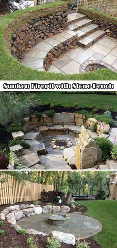 Sunken fire pit with stone benches.