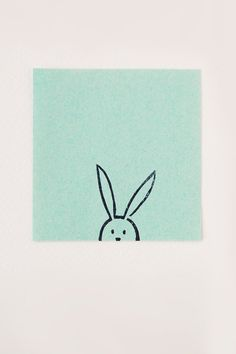 Funny bunny simple stamp - Non-mounted hand carved rubber stamp - peekaboo animal stamp