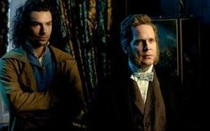 Aidan Turner as Dante Gabriel Rossetti and Tom Hollander as John Ruskin (great snob) in BBC's Desperate Romantics - 19th century London - 2009