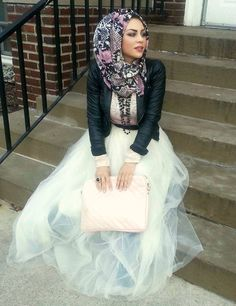 Floral hijab, leather jacket and tulle skirt <3 -Imaan Ali