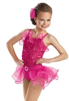 Sequin Ribbon Curly Hem Leotard -Weissman Costumes