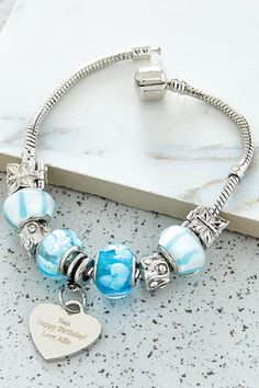 Buy Heart Charm Sky Blue From K Life. Your online shop for KLifePersonalised Unique Bracelets, Charm Bracelets, Get Happy, Heart Charm, Personalized Gifts, Great Gifts, Fashion Jewelry, Charmed, Silver