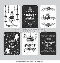 Vector set of hand drawn Christmas greeting cards. Great print design for invitations, posters, tags. Merry Christmas. Season's greetings. Festive banners in black and white colors