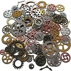 Steampunk Crafts, Steampunk Clock, Skeleton Clock, Watch Gears, Cogs, Arts And Crafts Supplies, Sewing Crafts, Jewelry Making, Charmed