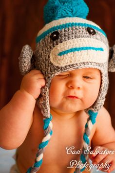 Sock Monkey Hat Blue & Grey  Available to ship now by MadebyKnitz