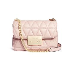 Michael Kors 'Sloan' small quilted leather chain crossbody bag (1,650 SAR) ❤ liked on Polyvore featuring bags, handbags, shoulder bags, pink, quilted crossbody, chain shoulder bag, quilted leather handbags, quilted leather crossbody and pink purse