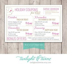 Thirty-one Holiday Coupon Sheets Custom PDF by TwilightAndTwine