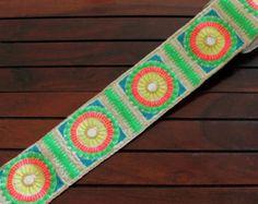 1 Yard-White Fabric Trim-Multi Color Embroidered Floral Design-Sari Border-Silk Sari Fabric-Pastel colours Silk Ribbon-India Fabric Tri
