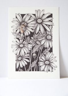 ORIGINAL Floral drawing, Save the Bee's, Pointillism, Indian Ink drawing, botanical drawing, stippling art, dot work, indie art, boho decor