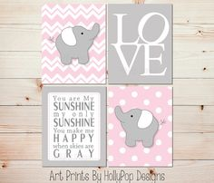 Pink Gray Nursery Art Elephant Nursery Prints Pink Nursery Wall Decor Toddler Girls Room Art You are My Sunshine Wall Decor LOVE print  0721                                                                                                                                                                                 More