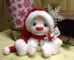 Primitive Raggedy Christmas 5in. Snowman Doll Winter Snow Shelf Sitter CUTE! #Unbranded #Christmas