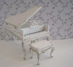 Baby Grand piano and stool,shabby chic white, dollhouse miniature, twelfth scale, via Etsy