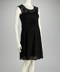 Take a look at this Black Lace Overlay Maternity Sleeveless Dress - Women by QT Maternity on #zulily today! $29.99