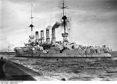 8.2 in armoured cruiser Gneisenau - with her sister Scharnhorst, the heart of Admiral von Spee's Far East fleet on the outbreak of WW1. After inflicting a defeat on the British off Chile at the Coronel in November 1914 both were sunk the following month at the Battle of the Falkland Islands by British battlecruisers. Their WW2 namesakes also forged a notable partnership from 1940 - 42.