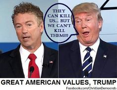#GOPDebate This is how crazy it has become, folks - the Republican front-runner says we should kill family members of ISIS who are innocent of actual crimes - that we should be like ISIS in order to defeat them. Rand Paul was the reasonable one this time!