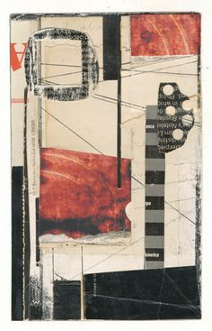 """140802  The Bubblegum Tree  3.25 x 6"""" collage on paper"""