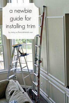 For the living rooms - works well with high ceilings - Few things can update a home like wainscoting. This beginner's guide for installing trim is so informative, including tool recommendations Home Improvement Projects, Home Projects, Home Renovation, Home Remodeling, Kitchen Remodeling, Craftsman Window Trim, Wall Trim, Trim Work, Moldings And Trim