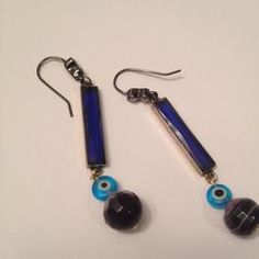 Blue Lavinia Evil Eye Linear Earrings - http://evilstyle.com/blue-lavinia-evil-eye-linear-earrings