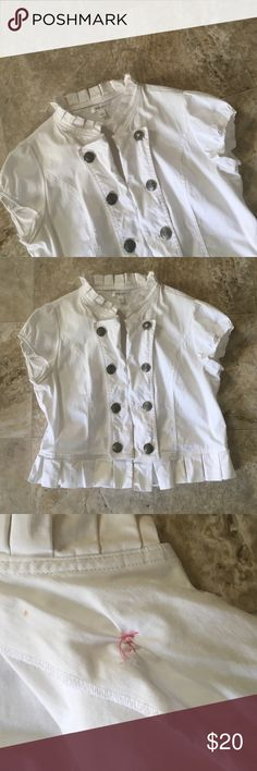 White ruffle edge jacket Only worn a couple of times and in perfect condition besides one button that was sewed back onto the jacket Dress Barn Jackets & Coats