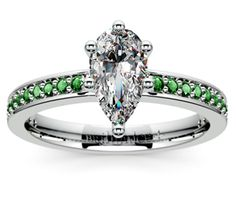 Pear Pave Emerald Gemstone Engagement Ring in Platinum  http://www.brilliance.com/engagement-rings/pave-emerald-gemstone-ring-platinum