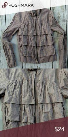 "New Loft ruffled jacket. Size 4 Never worn. 100% cotton. Light plum color. Size 4. Length: 22"" Armpit to armpit: 17"" LOFT Jackets & Coats Utility Jackets"